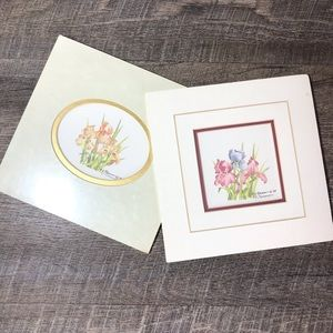 Watercolor paintings Irises 8x8 matted signed